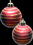 Två julgranskulor.