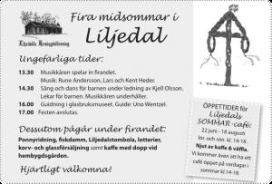 Program för midsommarfirande i Liljedal 2013.